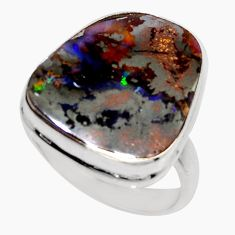 16.15cts natural brown boulder opal 925 silver solitaire ring size 8.5 r16041
