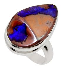 13.71cts natural brown boulder opal 925 silver solitaire ring size 7 r16042