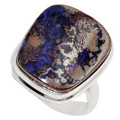 16.92cts natural brown boulder opal 925 silver solitaire ring size 9 r16043