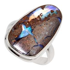 925 silver 14.40cts natural brown boulder opal solitaire ring size 8 r16044