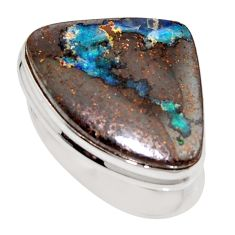 17.36cts natural brown boulder opal 925 silver solitaire ring size 9 r16046
