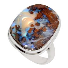 15.47cts natural brown boulder opal 925 silver solitaire ring size 8 r16047