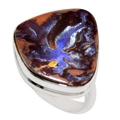 17.18cts natural brown boulder opal 925 silver solitaire ring size 8.5 r16048