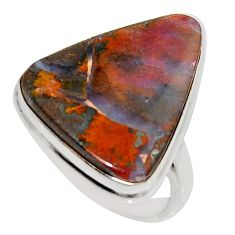 14.90cts natural brown boulder opal 925 silver solitaire ring size 8 r16049
