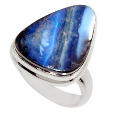14.72cts natural blue boulder opal 925 silver solitaire ring size 7 r16051
