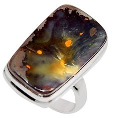 18.15cts natural brown boulder opal 925 silver solitaire ring size 7.5 r16053