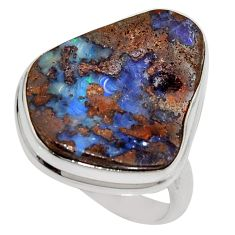 16.70cts natural brown boulder opal 925 silver solitaire ring size 9 r16054