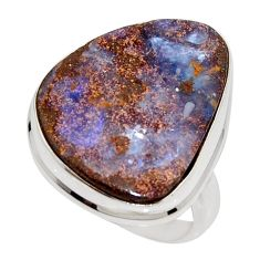 17.69cts natural brown boulder opal 925 silver solitaire ring size 9 r16056