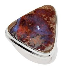 16.70cts natural brown boulder opal 925 silver solitaire ring size 8.5 r16058