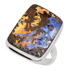 19.48cts natural brown boulder opal 925 silver solitaire ring size 9 r16059