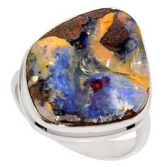 16.06cts natural brown boulder opal 925 silver solitaire ring size 8.5 r16061