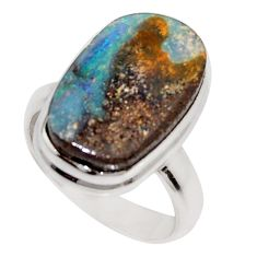 12.52cts natural brown boulder opal 925 silver solitaire ring size 6.5 r16063