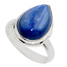 7.04cts natural blue kyanite 925 sterling silver solitaire ring size 5.5 r16065