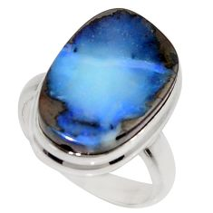 10.37cts natural blue boulder opal 925 silver solitaire ring size 7 r16067
