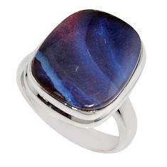 12.83cts natural brown boulder opal 925 silver solitaire ring size 7.5 r16069
