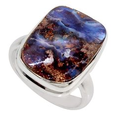 13.77cts natural brown boulder opal 925 silver solitaire ring size 7.5 r16070
