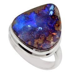 13.77cts natural brown boulder opal 925 silver solitaire ring size 7.5 r16071
