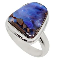 7.89cts natural brown boulder opal 925 silver solitaire ring size 6.5 r16072