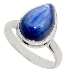 925 sterling silver 6.36cts natural blue kyanite solitaire ring size 9 r16073