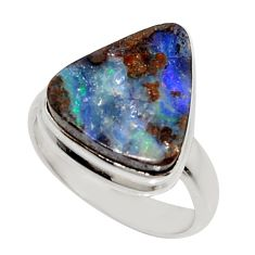 7.53cts natural brown boulder opal 925 silver solitaire ring size 6.5 r16074
