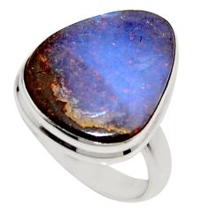 14.72cts natural brown boulder opal 925 silver solitaire ring size 7.5 r16075