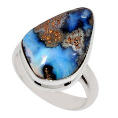 925 silver 12.06cts natural brown boulder opal solitaire ring size 6.5 r16076