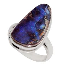 11.66cts natural brown boulder opal 925 silver solitaire ring size 6.5 r16077