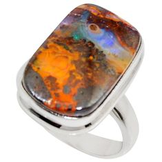 925 silver 14.12cts natural brown boulder opal solitaire ring size 8 r16078