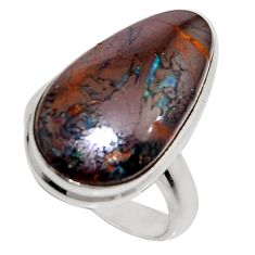 15.80cts natural brown boulder opal 925 silver solitaire ring size 7 r16079