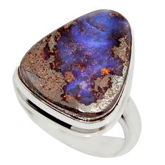 925 silver 13.27cts natural brown boulder opal solitaire ring size 7 r16080