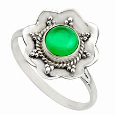 1.45cts natural green chalcedony 925 silver solitaire ring size 8.5 r16081