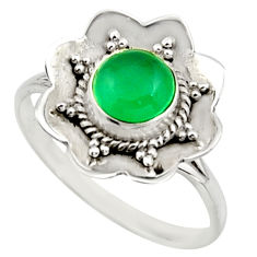 1.42cts natural green chalcedony 925 silver solitaire ring size 7.5 r16082