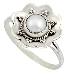 1.45cts natural white pearl 925 sterling silver solitaire ring size 8.5 r16088