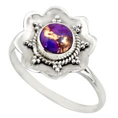 1.16cts purple copper turquoise 925 silver solitaire ring size 9.5 r16090
