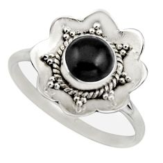 1.45cts natural black onyx 925 sterling silver solitaire ring size 9.5 r16091