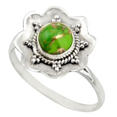 1.01cts green copper turquoise 925 silver solitaire ring jewelry size 8.5 r16092