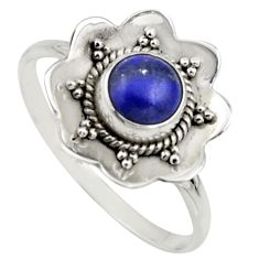 1.42cts natural blue lapis lazuli 925 silver solitaire ring size 9.5 r16094