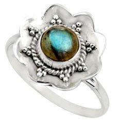 1.45cts natural blue labradorite 925 silver solitaire ring size 8.5 r16095