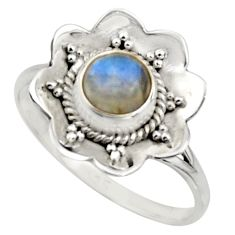 1.45cts natural rainbow moonstone 925 silver solitaire ring size 8.5 r16096
