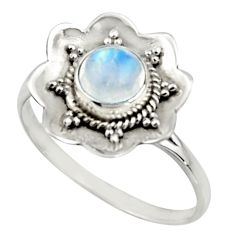 1.44cts natural rainbow moonstone 925 silver solitaire ring size 8.5 r16098