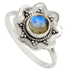 1.34cts natural blue labradorite 925 silver solitaire ring size 8.5 r16099