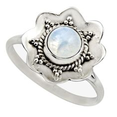 925 silver 1.45cts natural rainbow moonstone solitaire ring size 8.5 r16100