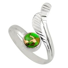 0.87cts green copper turquoise silver solitaire adjustable ring size 9 r16107