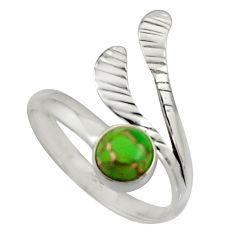 0.87cts green copper turquoise silver solitaire adjustable ring size 9.5 r16108