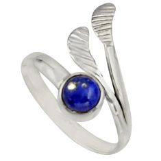 1.30cts natural lapis lazuli silver solitaire adjustable ring size 9.5 r16109
