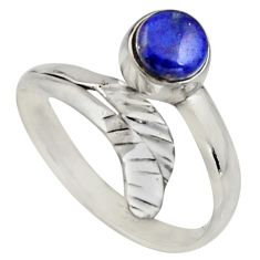 Natural blue lapis lazuli 925 silver solitaire adjustable ring size 9 r16110
