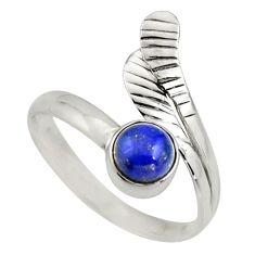 1.21cts natural lapis lazuli 925 silver solitaire adjustable ring size 10 r16111