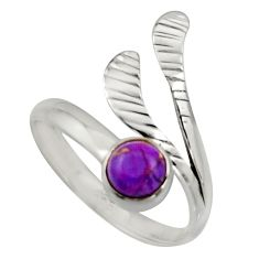 Purple copper turquoise 925 silver solitaire adjustable ring size 9.5 r16112