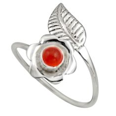 0.94cts natural cornelian 925 silver solitaire adjustable ring size 9.5 r16113
