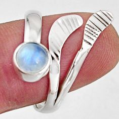 Natural rainbow moonstone 925 silver solitaire adjustable ring size 8.5 r16114